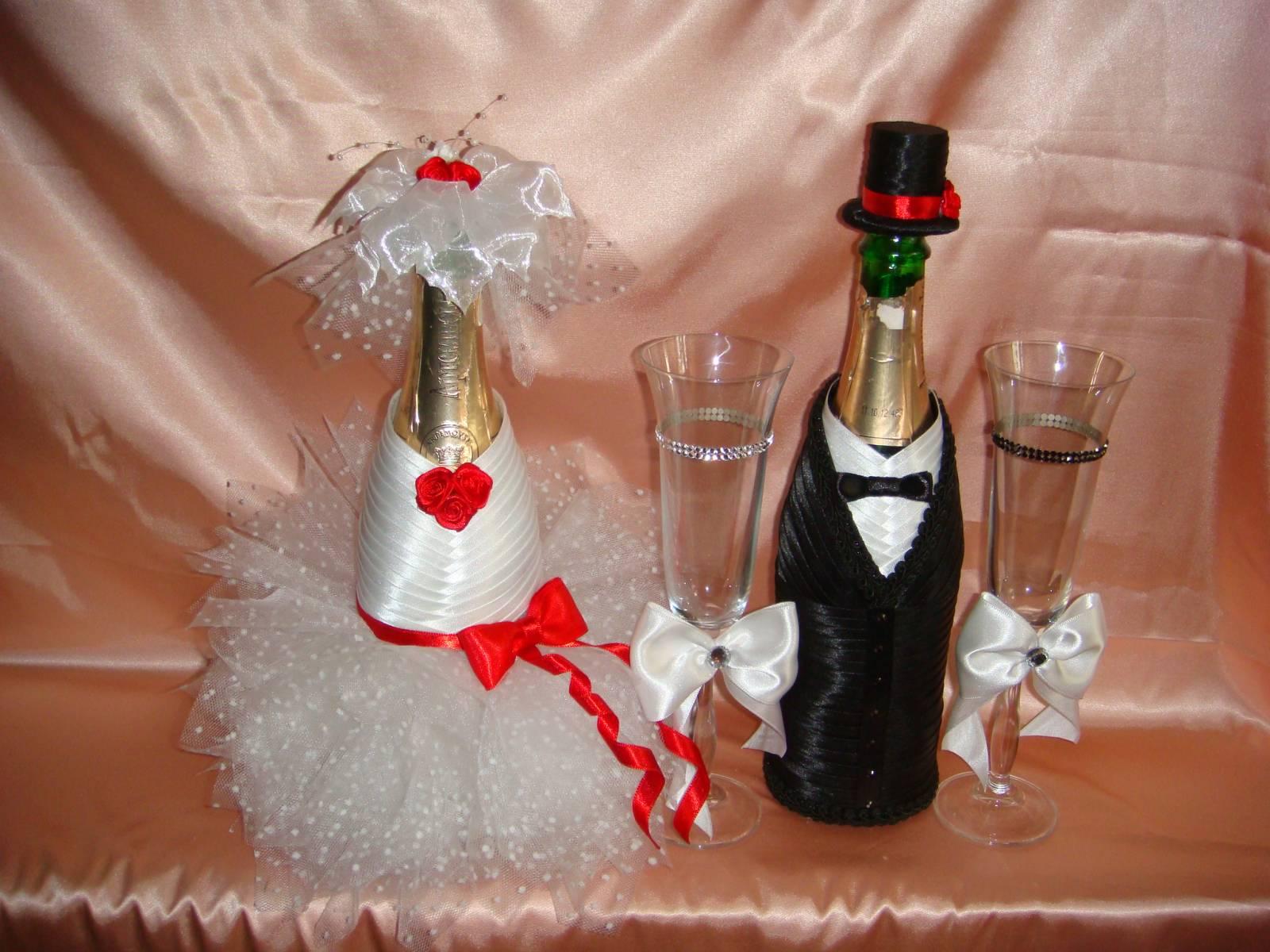 Свадебные чехлы на бутылки своими руками