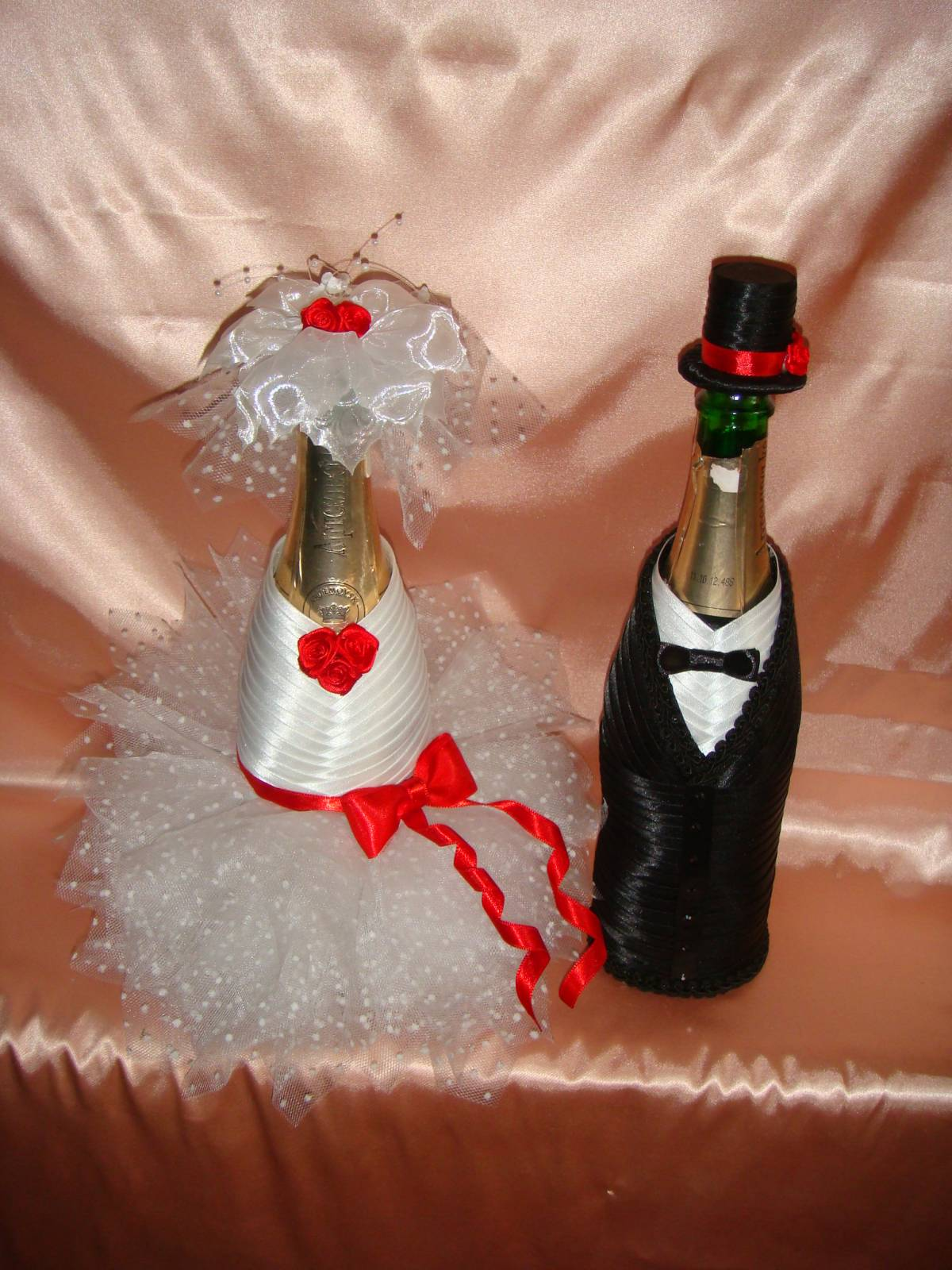 Украшение на шампанское для свадьбы мастер класс