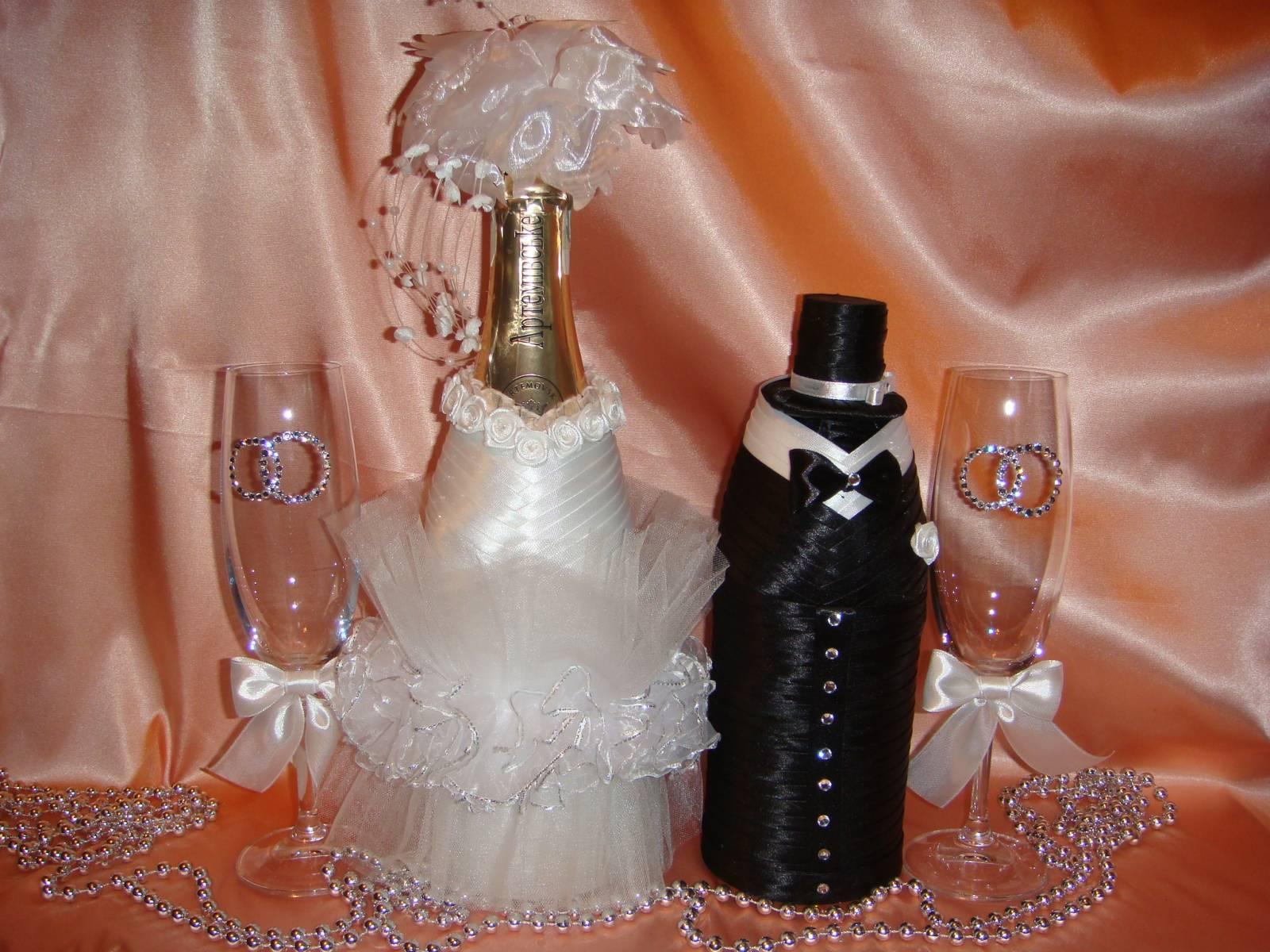 Оформление свадебного шампанского класс мастер